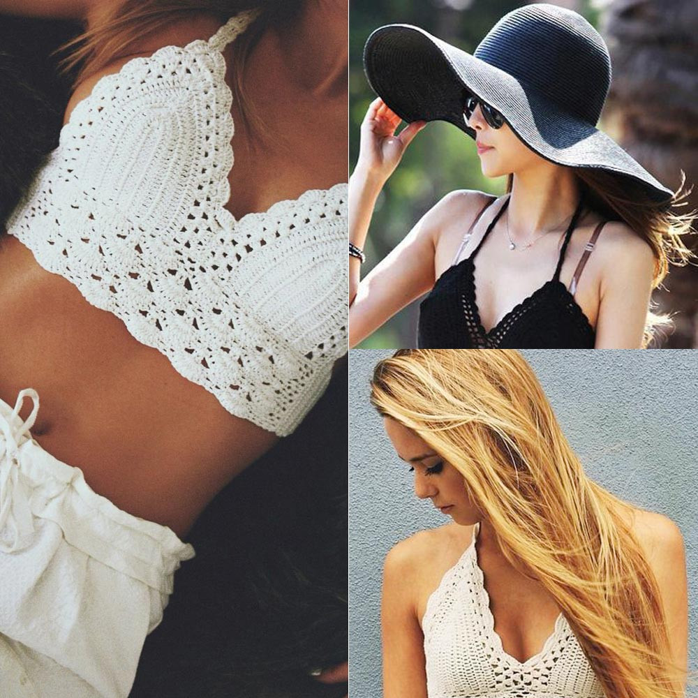 e1f6d57631ca60 Sexy Women Crop Top Crochet Lace Bralette Knitted Bra Boho Beach Bikini  Halter Cami Tank Top