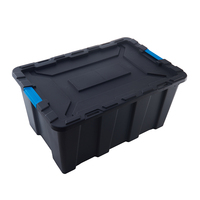 Stackable large PP plastic black heavy duty tools storage box