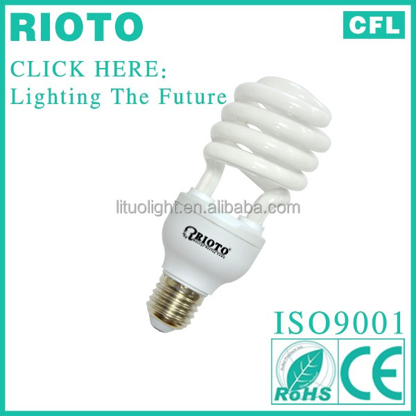 12w 7mm 6700k 8000hours 100% Tri-Color Half Spiral E27 Energy Saving Lighting self ballast compact fluorescent lamp