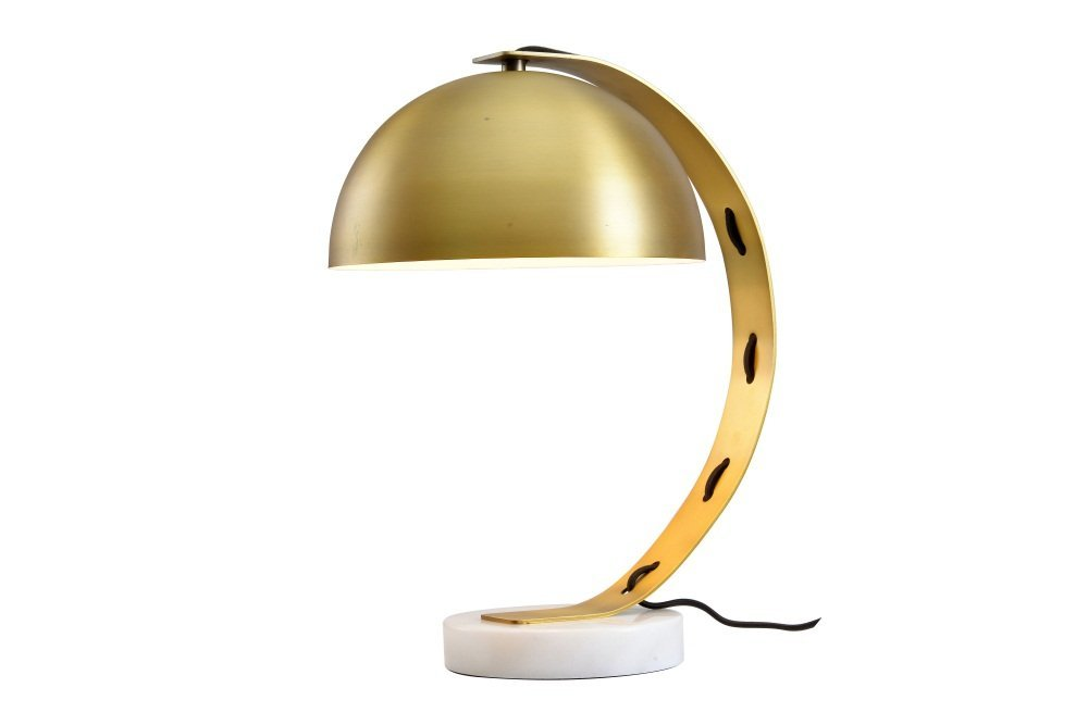 "Metal Table Lamp Antique Style Desk Lamp Industrial Desk Lamp with Brass Shade and White Marble Base for Bedroom,Brass,16""H 56-PX89-H1D8"