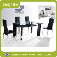 Dining Hall 6 People Cool Black Double Layer Rectangle Glass Furniture Dining Table