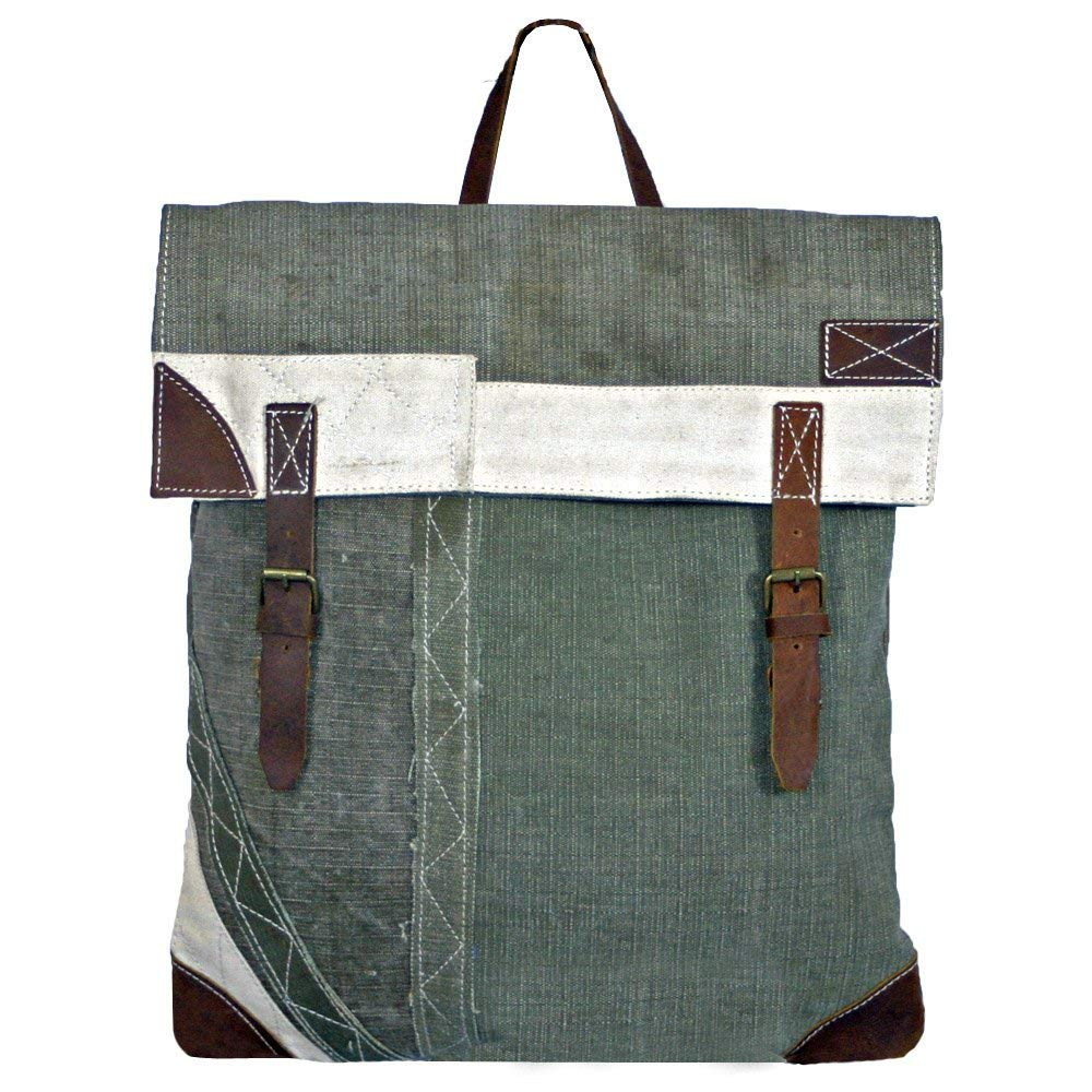 6ea87d1b5093 Get Quotations · Canvas Backpack Vintage Rucksack Recycled Canvas Tent with  Real Leather Trim