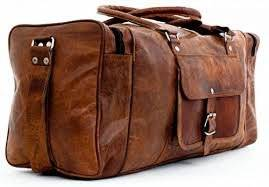 Dios 20 Inches Leather Duffel Travel Bag, Gym Bag, Overnight Weekend Leather Bag, Sports Bag, Cabin Bag (Size 20X7X9 Inches)