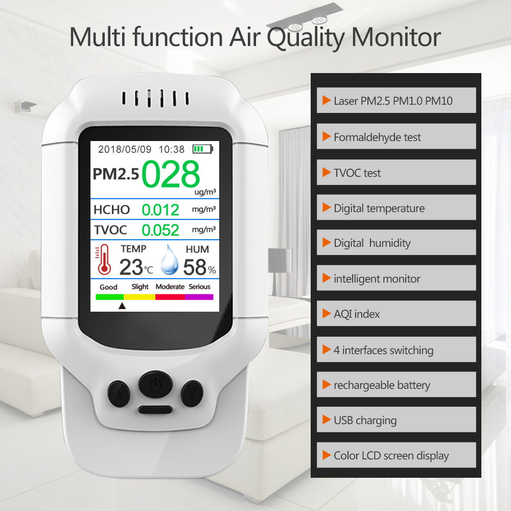 Dienmern Air Quality Detector PM2.5 portable Gas Analyzers & HCHO & TVOC &AQI air gas Meter Monitor Tester
