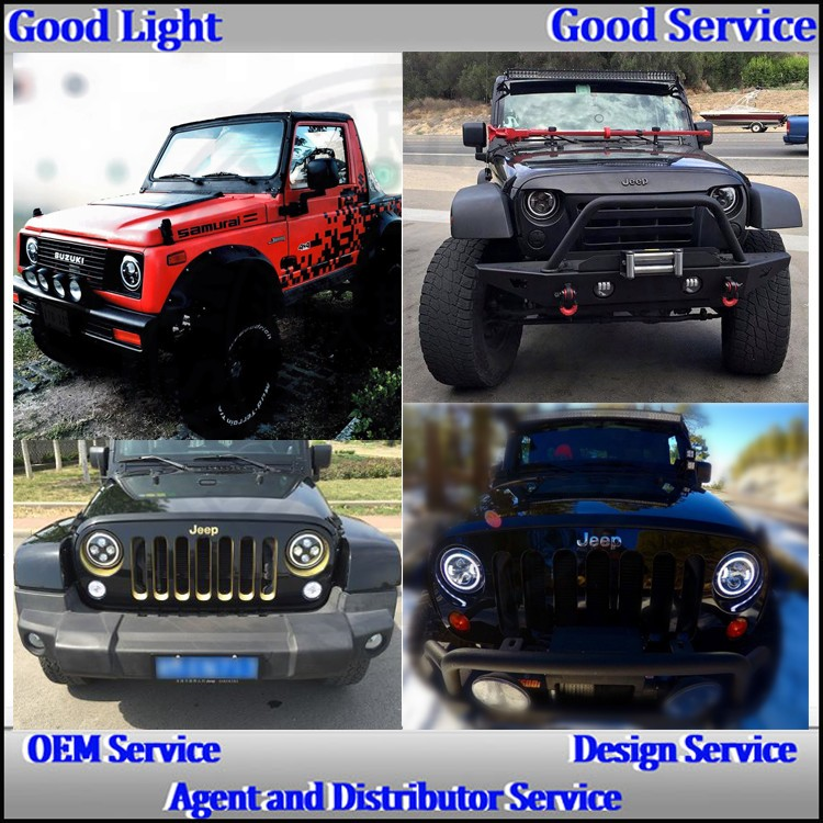 OVOVS 7inch 40w h/l beam round car wrangler led headlight with halo for fj c-ruiser