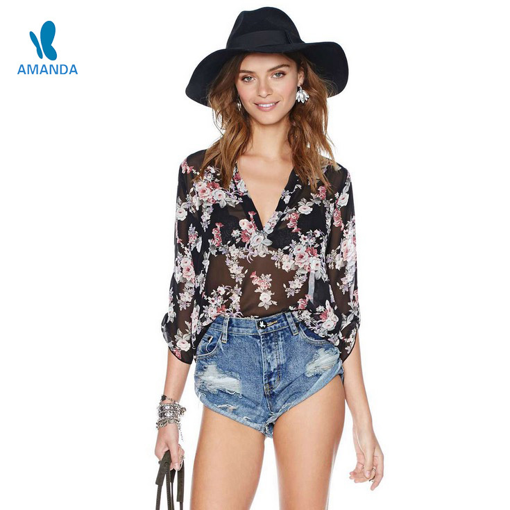 Summer style womens blouses sexy V-neck Pullover summer costume shirts fashion black floral print chiffon blouse casual blusas