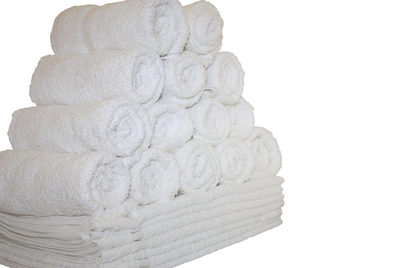"48-Pieces Salon Gym Spa Hand Ring Spun Towels, 16x27"" White Eco-Friendly 100% Cotton - by Atlas"