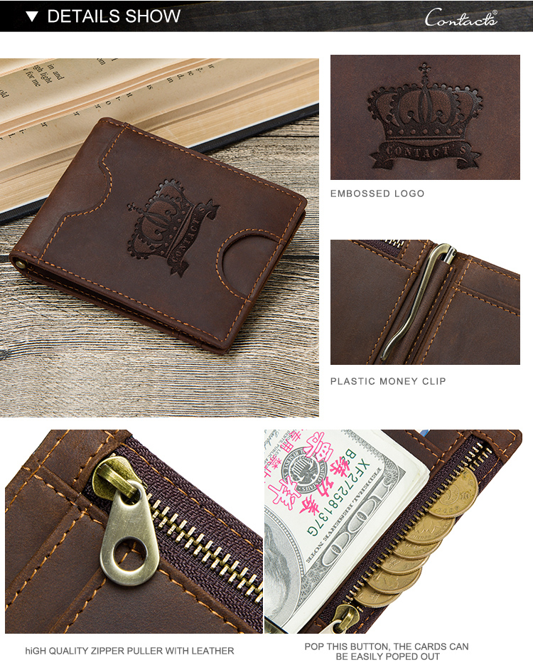 free sample contacts crazy horse leather card holder with coin pocket rfid blocking ultra thin men genuine leather money clip