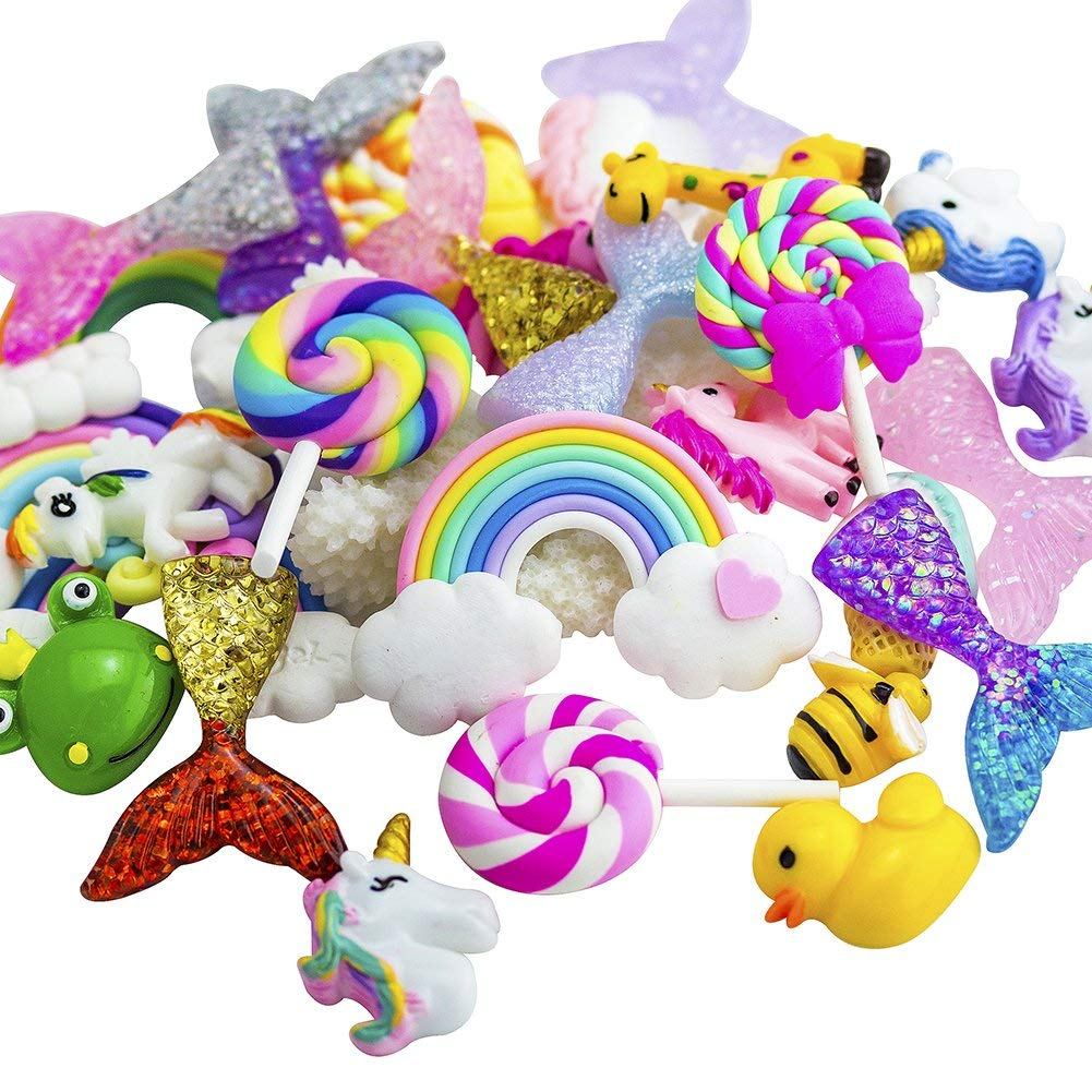 ANPHNIE Slime Charms Beads Supplies Set (2018 New) 30pcs Craft Buttons Assorted Mermaid Tail Rainbow Lollipop Animals Resin Flatback for Craft Making, Ornament Scrapbooking DIY Crafts