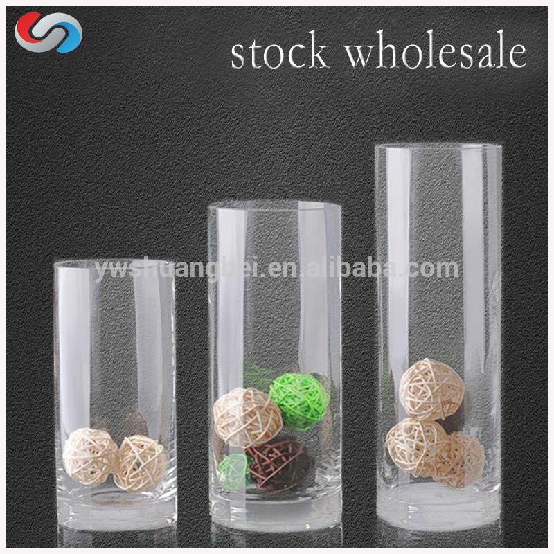 cristal alto claro del cilindro florero hechos a mano clara florero