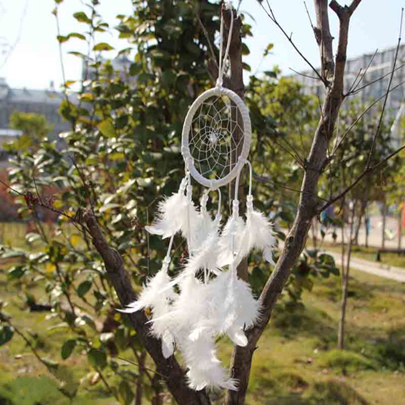 Hot  new white dromenvanger charm wind chimes Feather pendant Indian dream catcher decor car home decor gifts
