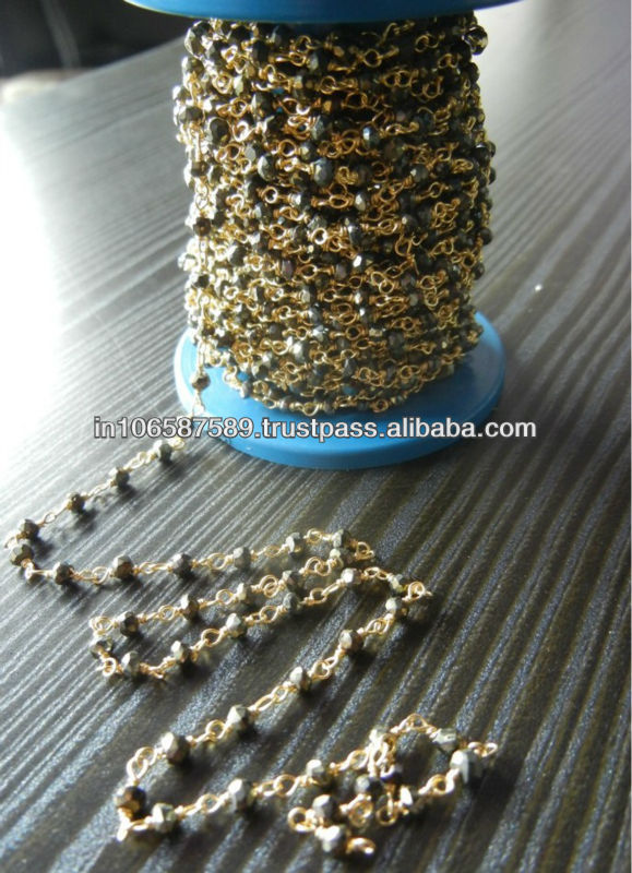 Gold Plated Silver Wire Rosary Chain gemstone Beads 2.5-3.5 mm selling per meter