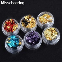6 colors Nail Art Colorful Glitter Aluminum Foils Flake Double Color Sticker DIY Irregular Design Nail Decoration
