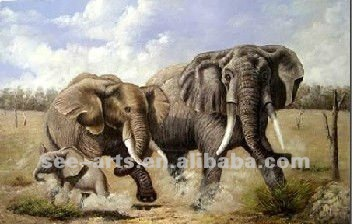 Popular abstract group animal oil painting with beautiful scenery