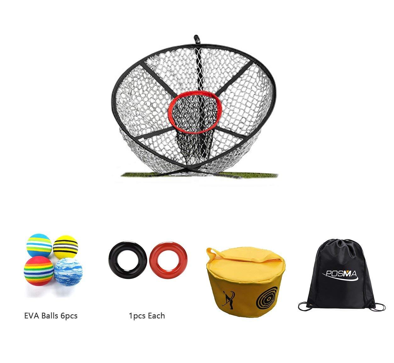 POSMA CN040H Golf Elite Chipping Net Bundle Set With Golf EVA Balls + Weight Power Swing Ring Red and Black(1pcs Each) + Golf Hitting Bag Swing Impact Power Smash Bag + Cinch Sack Carry Bag