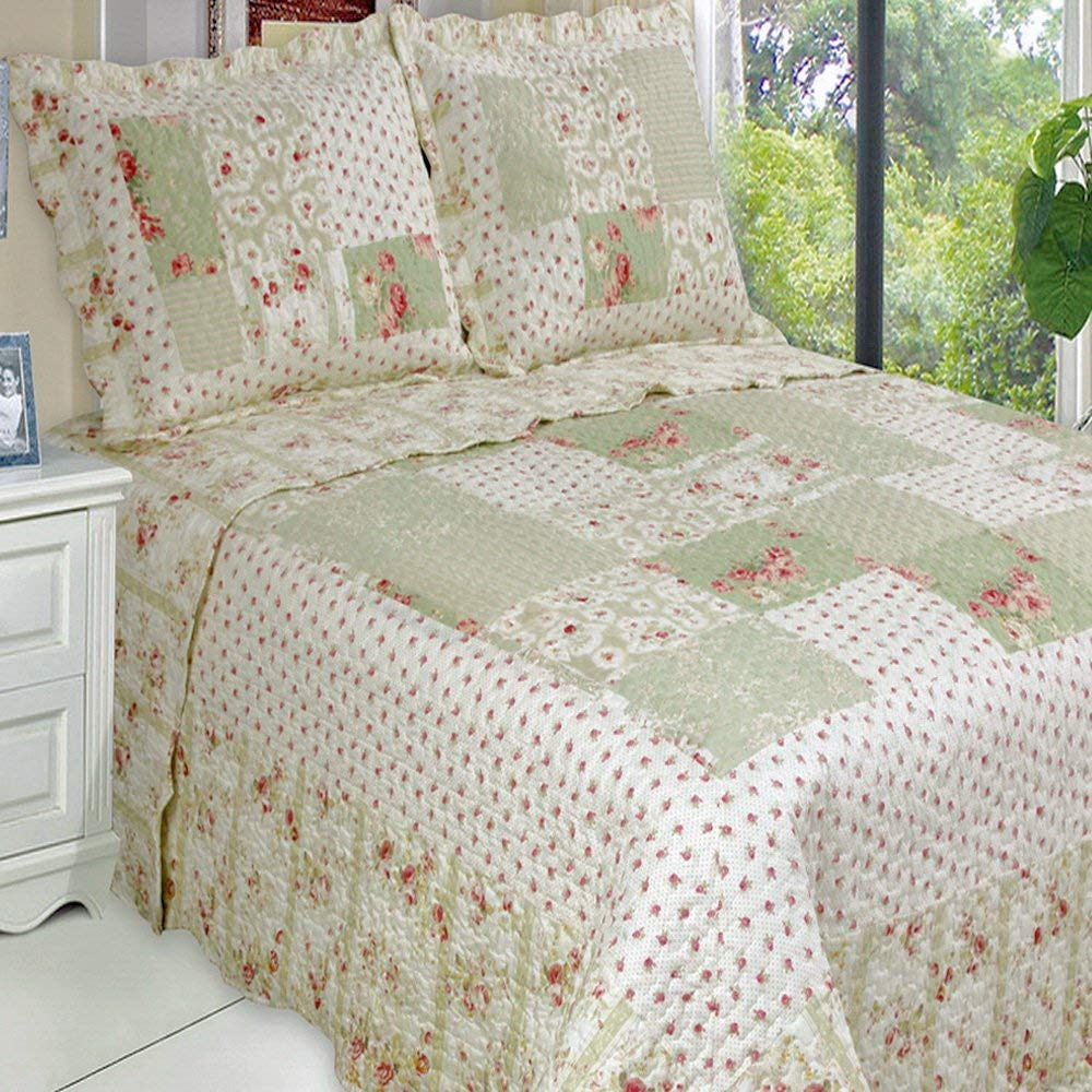 Quilt Coverlet Set 3 Piece Oversize King/California King Size Chic Shabby Romantic Roses Green Flowers Floral Printed Patchwork Pattern Reversible Lightweight Hypoallergenic Bedding