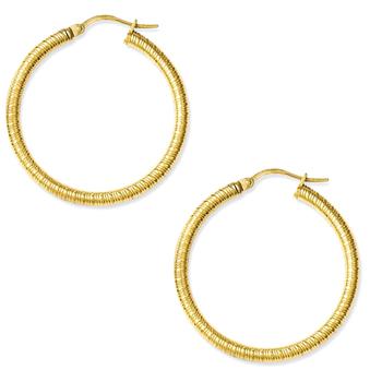 Latest Gold Designs Fashion 40mm Stripe Hoop Twist Wire Earrings Women Jewelry
