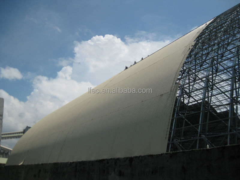 Economical space frame structure coal shed for power plant