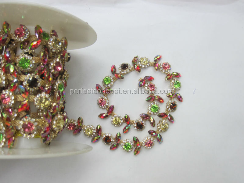 Hot selling colorful acrylic stone trimming / trimming for clothes/transparent clear/peridot/siam AB/rose/gold trim