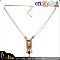 Fashion vietnam jewelry Geometric alloy enamel necklace long double layer necklace