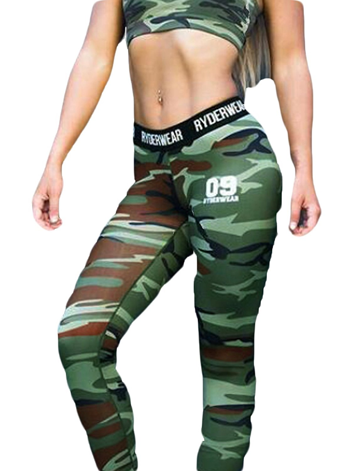 f7956b43b4 Get Quotations · Women's Camo Compression Pants Leggings for Running, Yoga,  Gym Tights Base Layer Leggings,