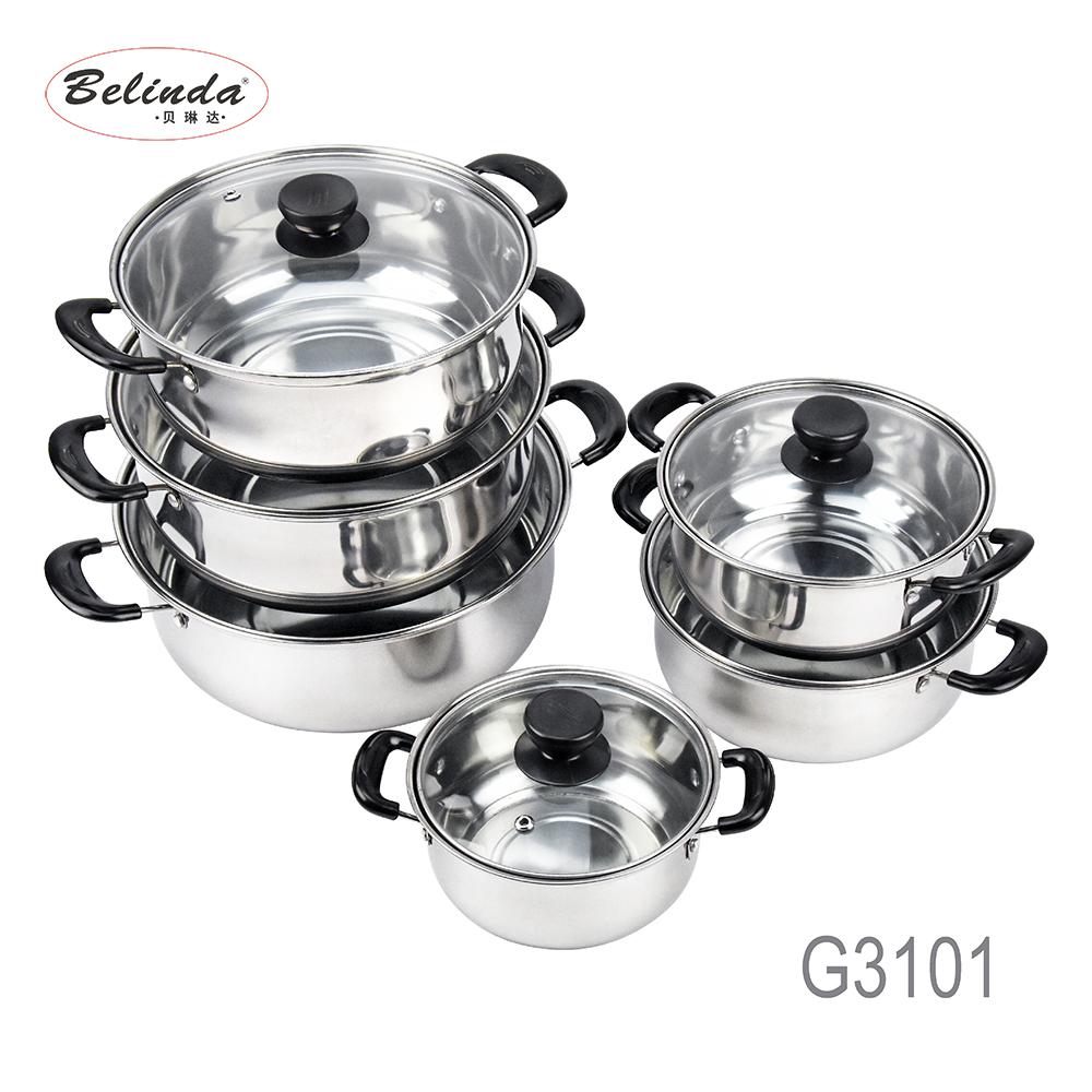 Empuñadura de baquelita de cocina de acero inoxidable olla de 12Pcs utensilios de cocina conjunto