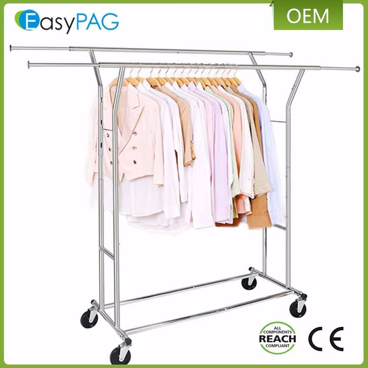 New design stretchable double rail garment clothes drying rack with wheel