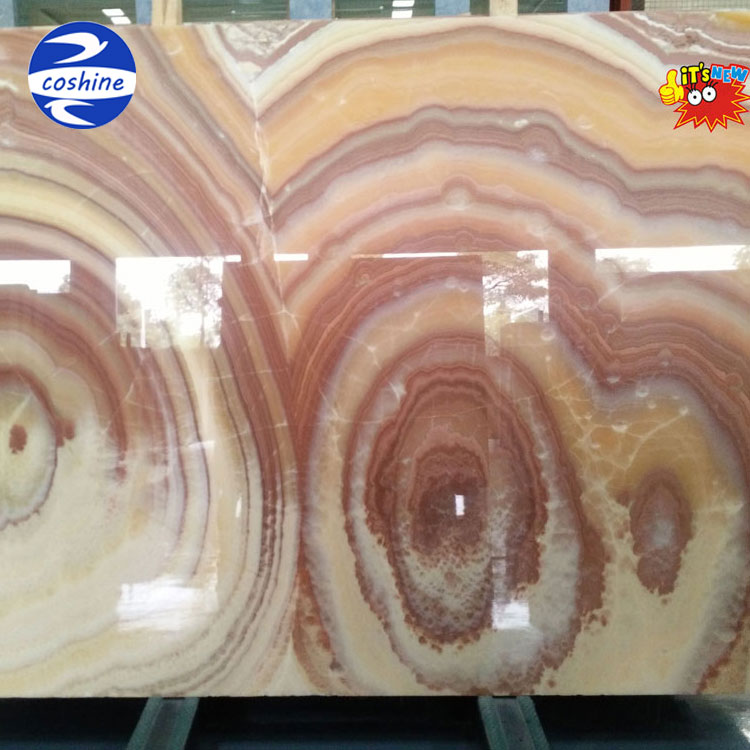 Mixed color flower red yellow orange onyx marble slabs
