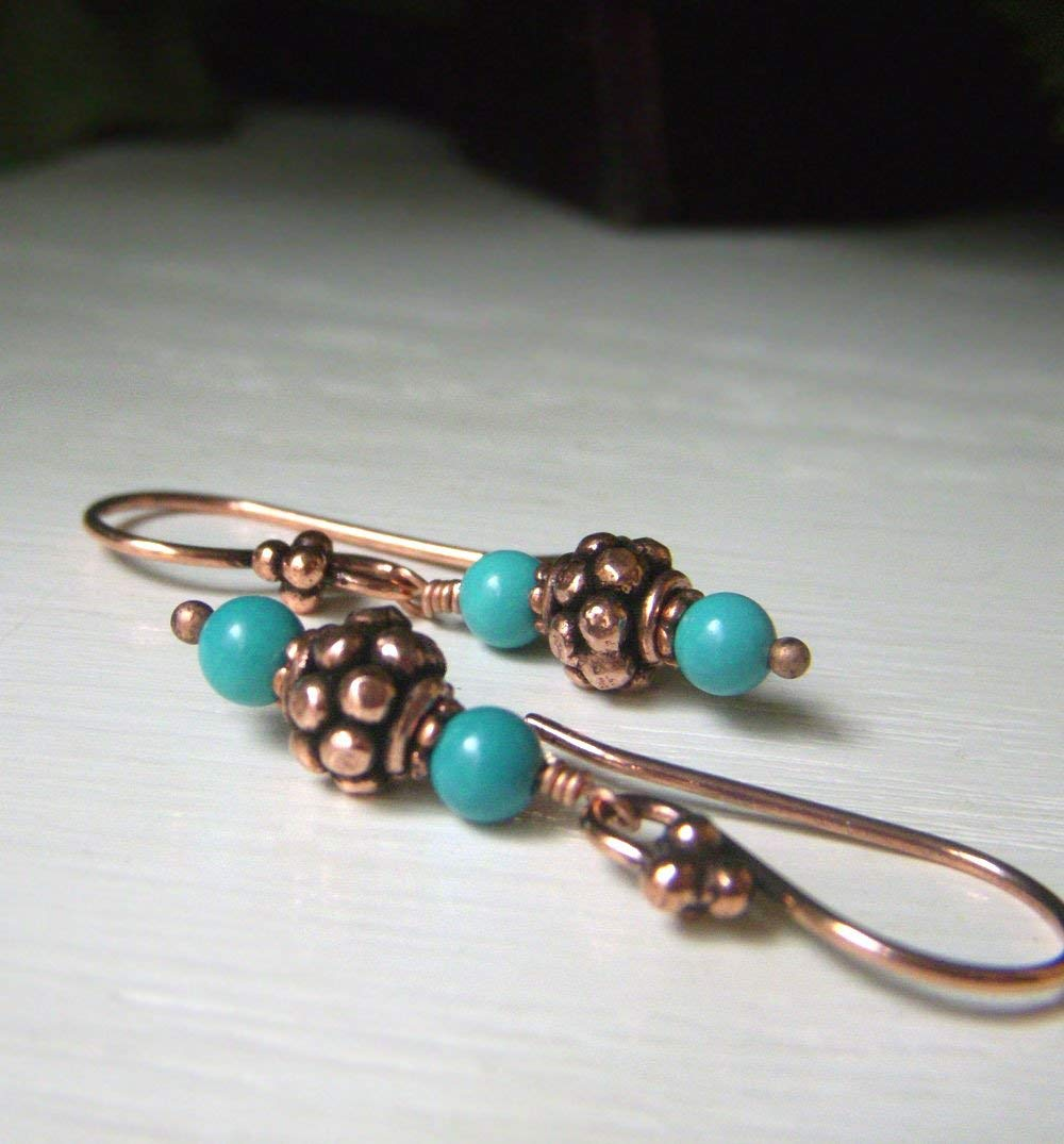 Solid Copper Earrings with Real Turquoise - Bohemian Casual Dangle