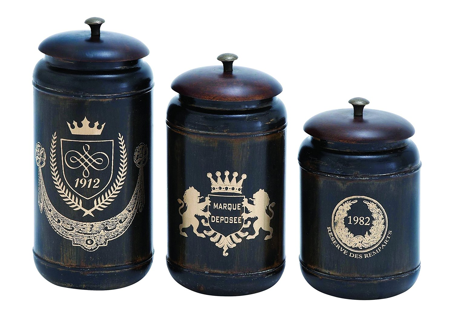 Benzara Canisters with Cylindrical Jars and Matching Lids, Set of 3