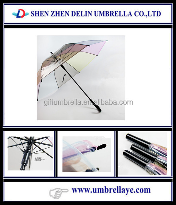 2016 hot high quality Japanese Style clean PVC straight color thick long semi automatic transparent umbrella women Rain gear