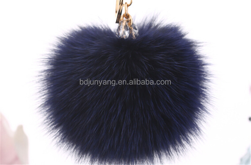 fox tail keychain/dyed raccoon fur/blank key chains