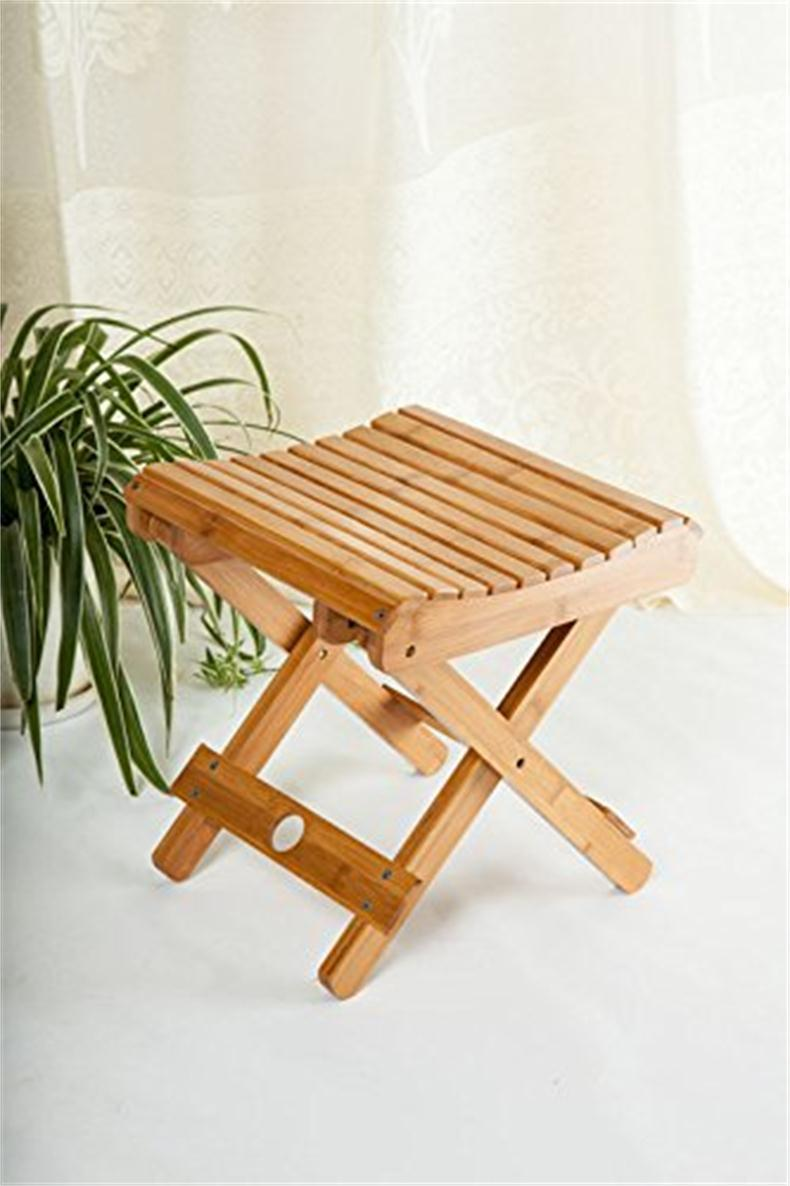 bamboo foldable footstool fishing shower step square stool domestic chair for children kids leisure