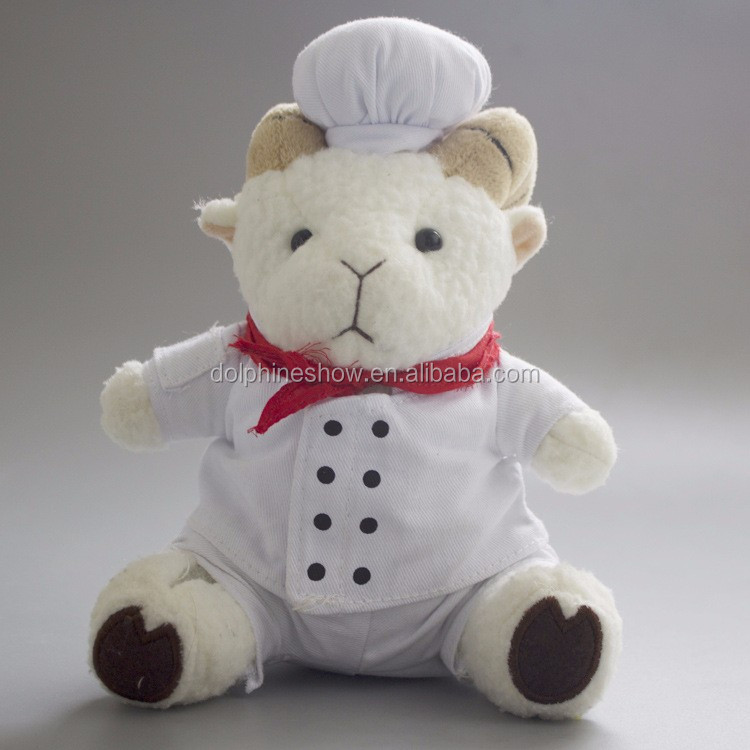 10 Inch Cute Custom Stuffed Soft Plush Chef Goat Toy New Wholesale