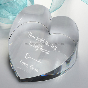Laser high quality wedding favors Crystal Love Heart Diamond Paperweight