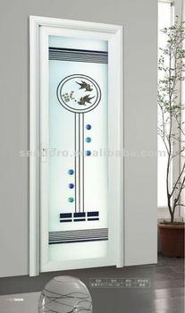 Aluminum Interior Toilet Door With Decoration Gl