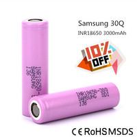 2016 New 100% band 18650 battery for samsung 30Q 3000mah 3.7v rechargeable battery for vape
