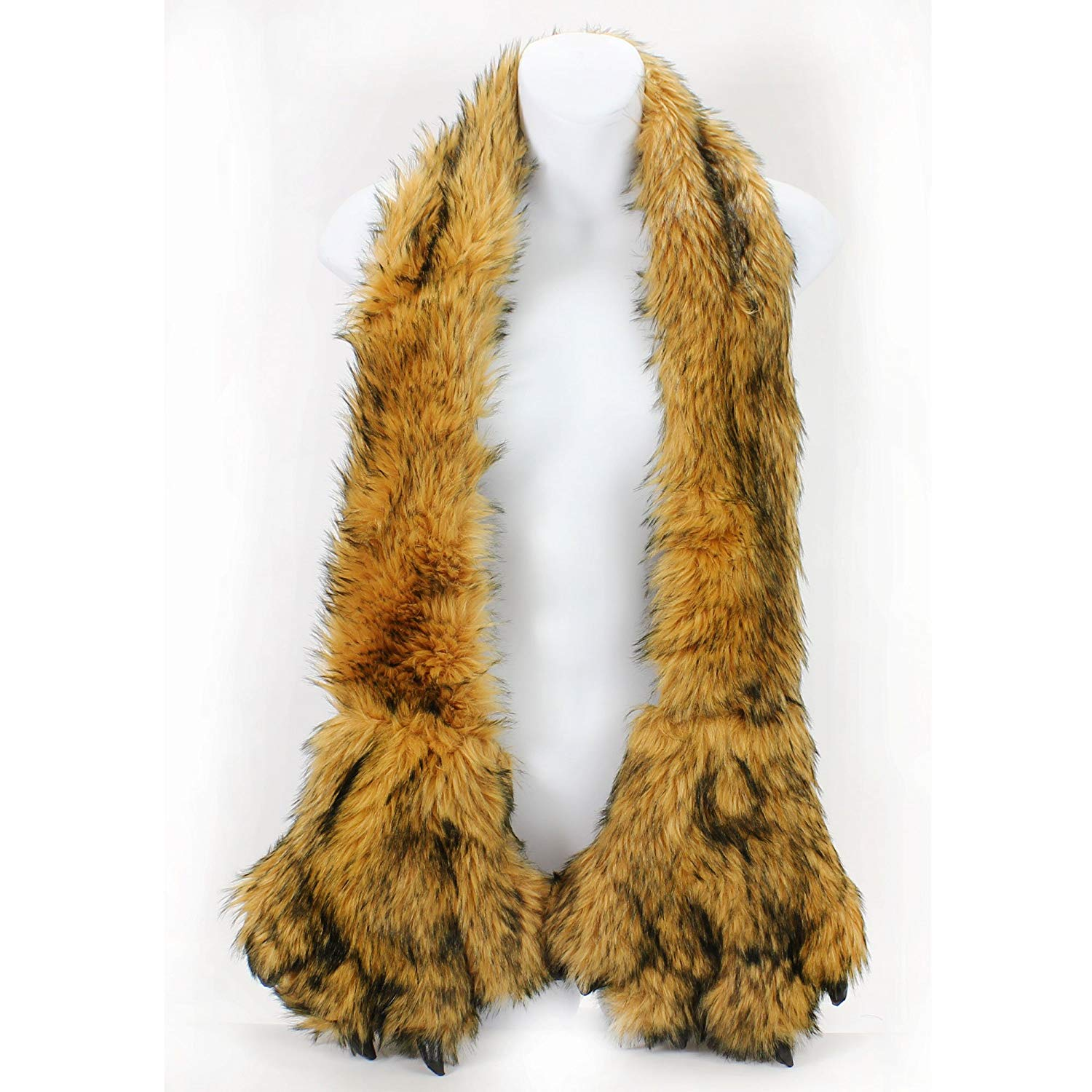 AN Fun Winter Accessory Fleece Lined Furry Faux Fur Scarf Animal Claws Paws Pockets Mitten (Brown)