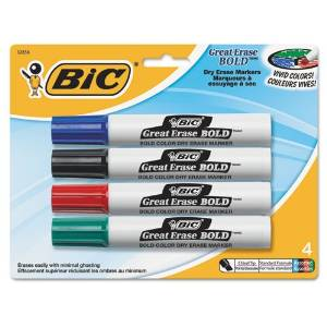 BIC Products - BIC - Great Erase Bold Dry Erase Markers, Chisel Tip, Assorted, 4/Set - Sold As 1 Pack - Bold, vivid ink for presentations with impact. - For use on whiteboards, glass and most nonporous surfaces. - Chisel tip for both broad and fine lines. - Fast drying, superior erasability. -