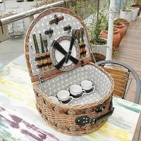 Retro willow picnic baskets nature wicker basket with leather handle for picnic