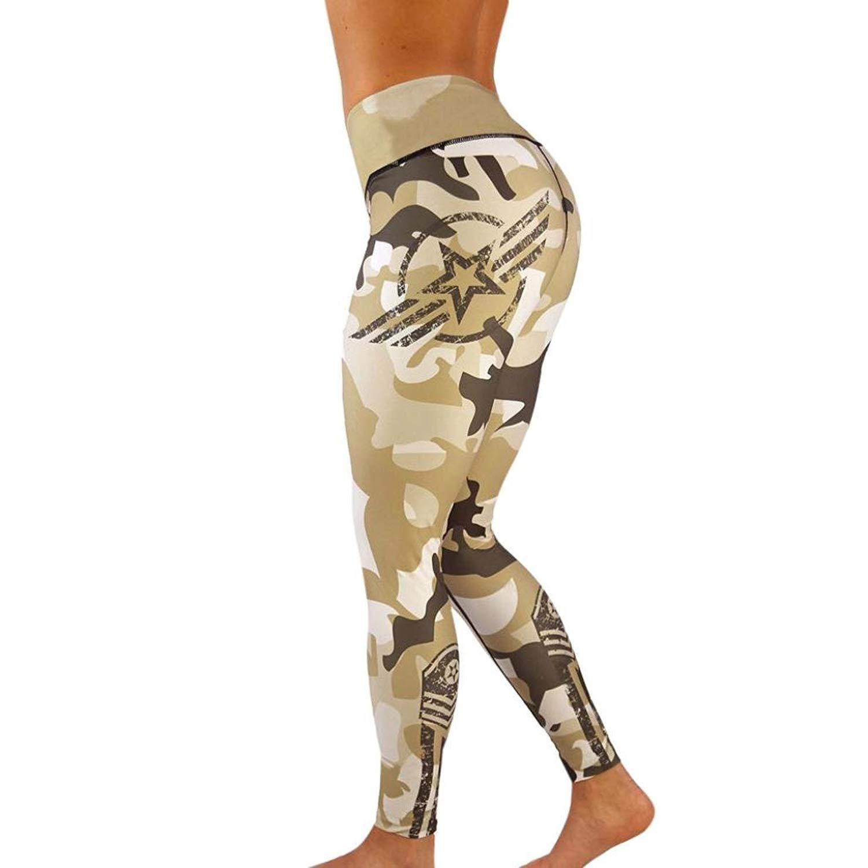 da3a85e8cd923b Get Quotations · ABASSKY Khaki Camouflage Printed Hip High Waist Yoga  Leggings Yoga Pants Petite Length Yoga Pants Khaki
