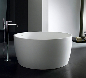 High Quality PG Cast Stone Solid Surface Round 120cm Bathtub
