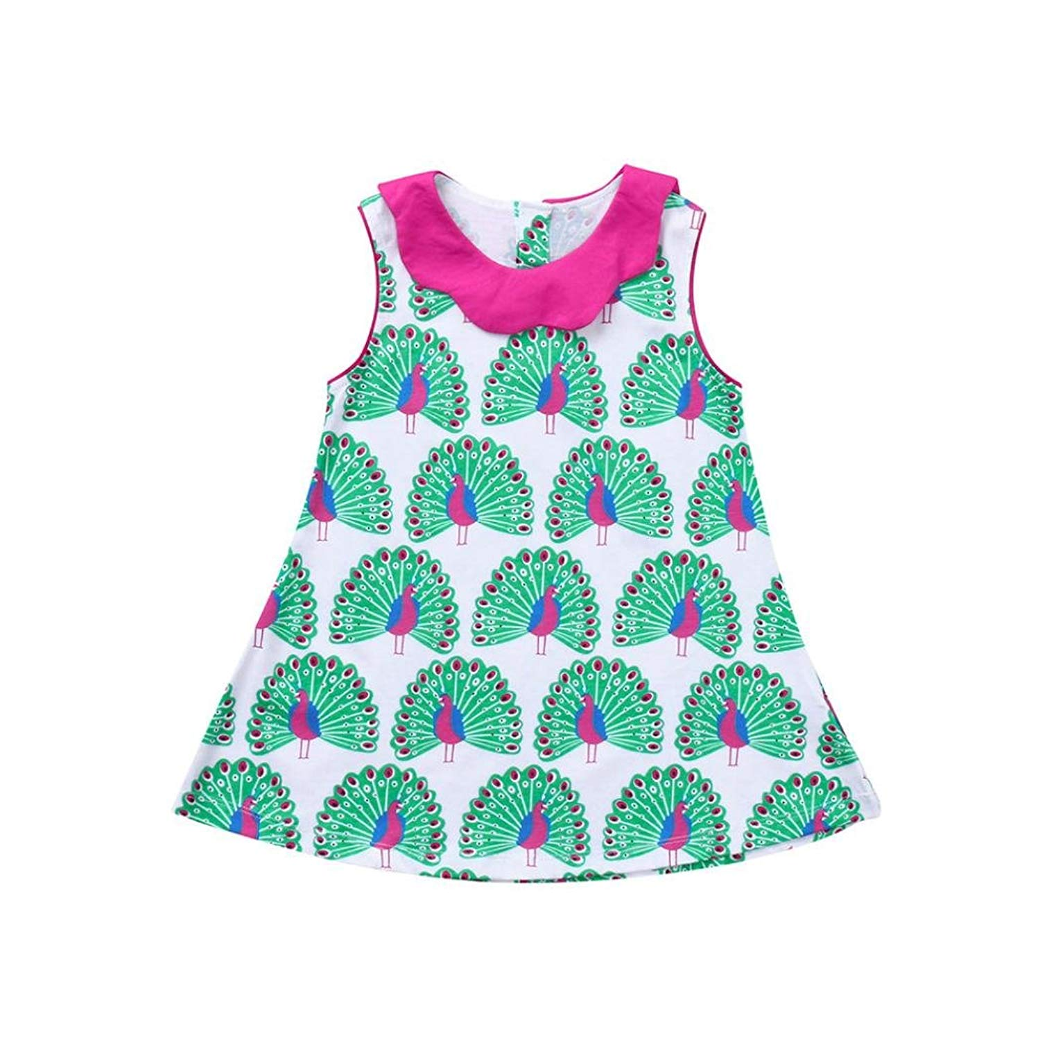 ba3019eee088 Winsummer Kids Girls Summer Dress Sleeveless Peacock Dresses Princess Party  Clothing Playwear Toddler Sundress