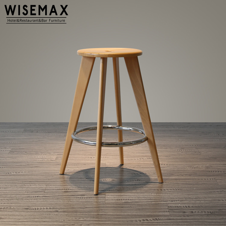Wholesale simple style Jean prouve durable backless wooden tabouret haut barstool with footrest