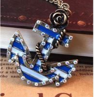 A3013 Vintage Rose era marine anchor shiny pirate captain fashion necklaces
