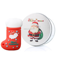 Christmas Sock Santa Gift 16G USB Flash Drive Memory Stick Data Storage Device & Metal Box Packing, Novelty Cute Gift / Present