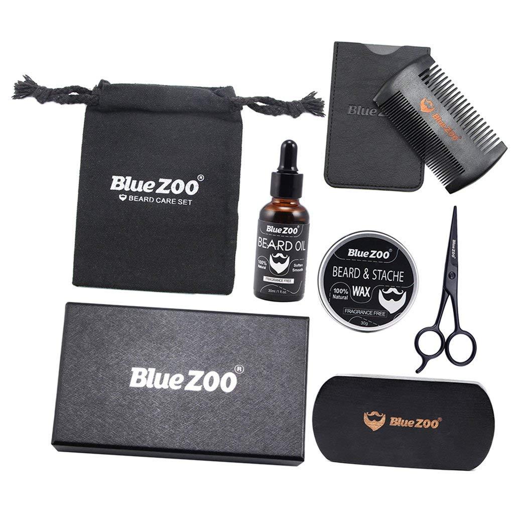 Baoblaze Beard Kit for Men Beard Growth Grooming Trimming Beard Balm & Beard Oil & Comb & Brush & Scissors & Cases