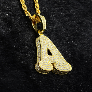 High quality letter A pendant jewelry zircon steeing 14k gold plated alphabet letter charms