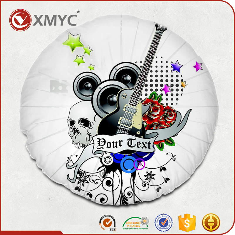 Music Theme Pattern Wholesale Sublimation Printing Round Cushion Cover