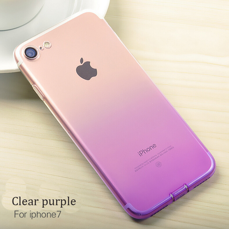 DFIFAN New design Transparent Clear Gradient Flexible TPU Soft Mobile Phone Protective Case Cover for iphone 7 7plus Smartphone